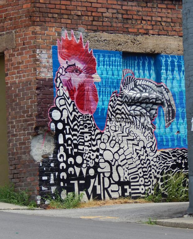 chicken mural Asheville