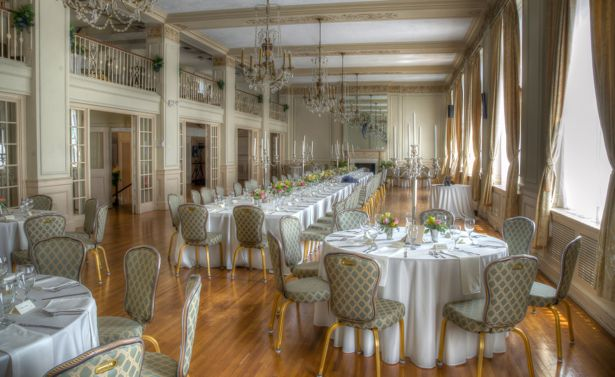Ballroom decorated for Southern wedding