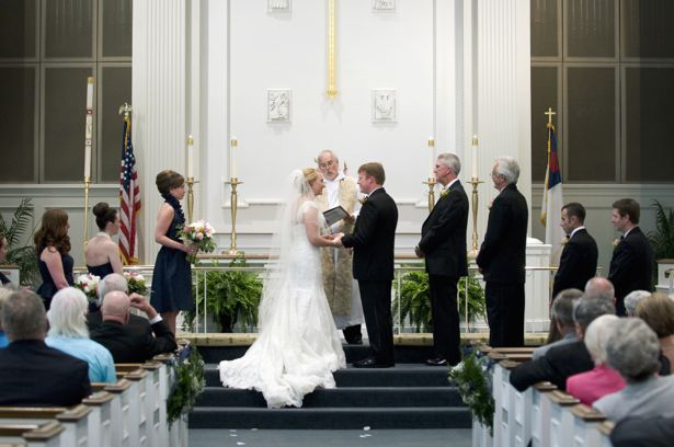 Couple makes vows at front of church