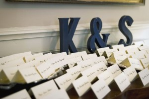 Couple monogram decorates seating card display at this Southern wedding.