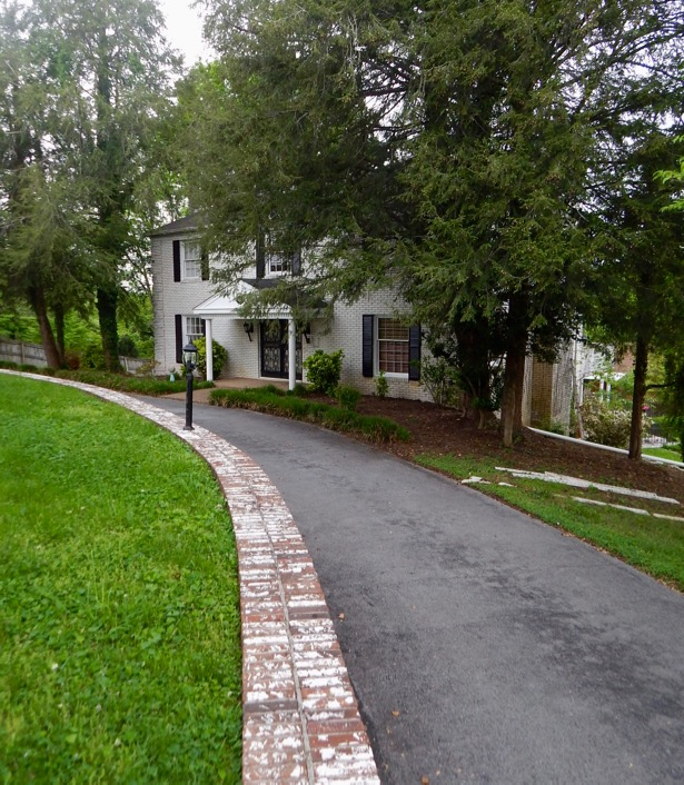 Side view of new house with driveway