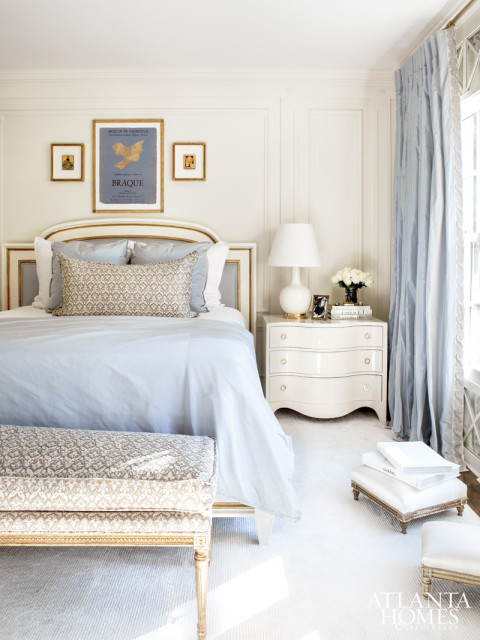 Again, I am really into this pale blue and creamy white. Plus, I love the fabric print and headboard here. Image via Atlanta Homes & Lifestyles