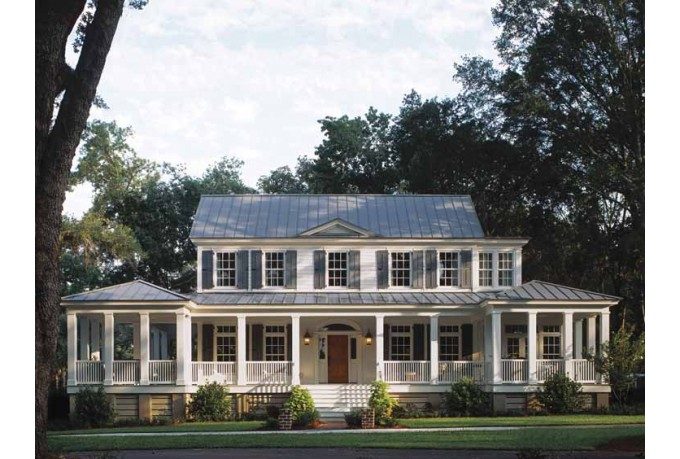 I like the idea of extending a porch across the front side of the house.