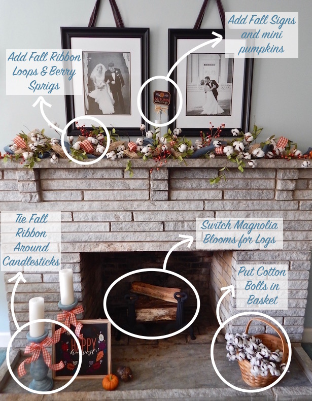 Summer to Fall Mantle Decor Transition