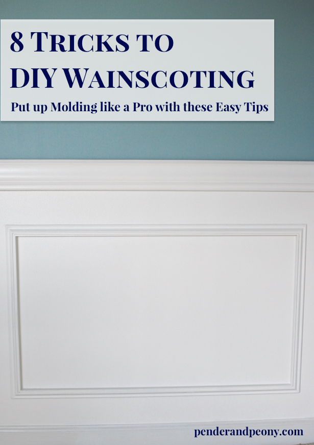 Tricks to DIY Wainscoting - use these tips to put up molding like a pro. Get them on penderandpeony.com: home decor, interior design, DIY