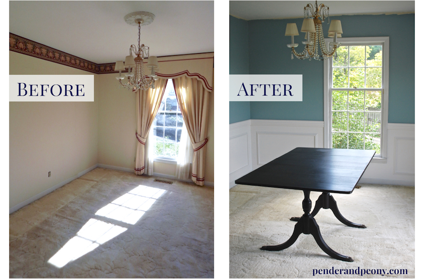 Merveilleux Dining Room Before And After Wainscoting. Get The Tips For Putting Up  Molding Like A