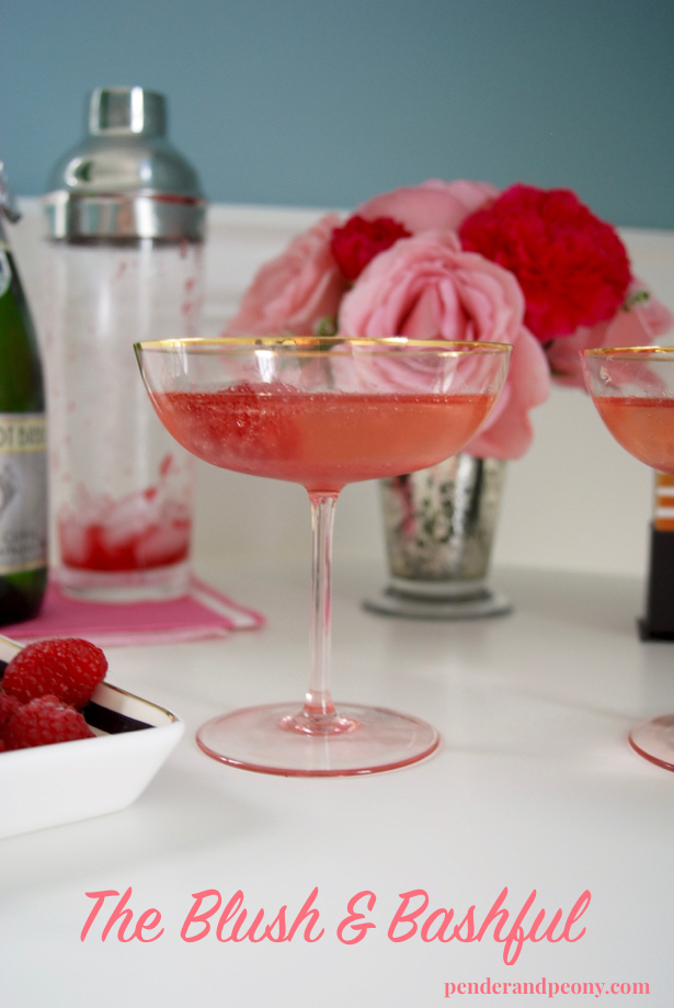 The Blush & Bashful: a perfect champagne cocktail with raspberry jelly and St-Germain. Watch the video and get the recipe on penderandpeony.com