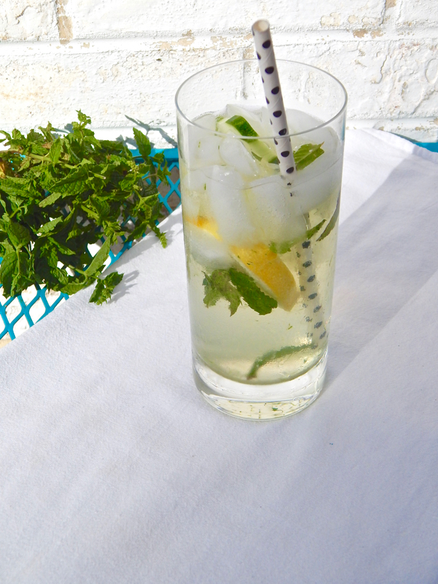 Cucumber Cooler with St-Germain and Mint. Learn how to make it at penderandpeony.com