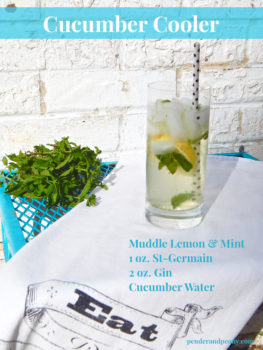 Cucumber Cooler with mint and St-Germain. Learn how to make it at penderandpeony.com