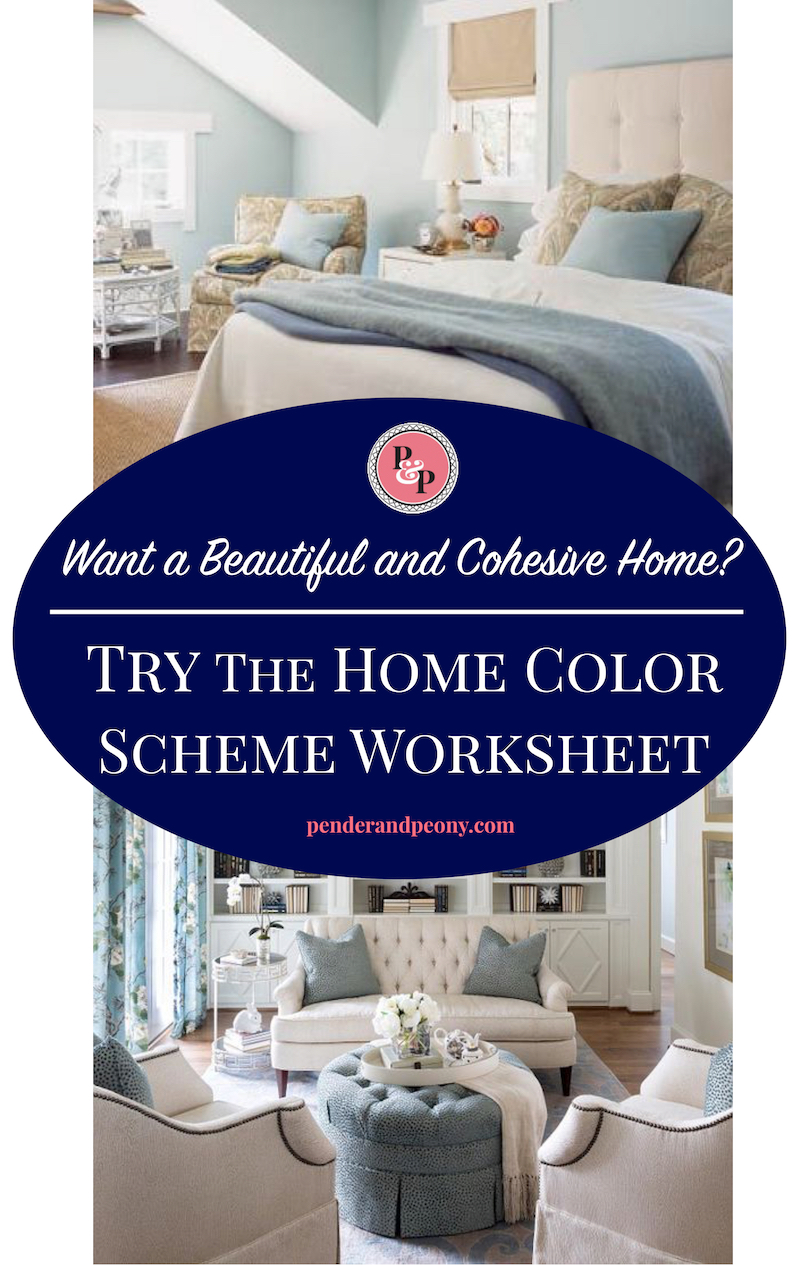 Use the Home Color Scheme Worksheet to create a color scheme for your house. Get it on penderandpeony by signing up. A whole home color scheme will make your home more cohesive, harmonious, and beautiful. This is a great interior design and home decorating trick!
