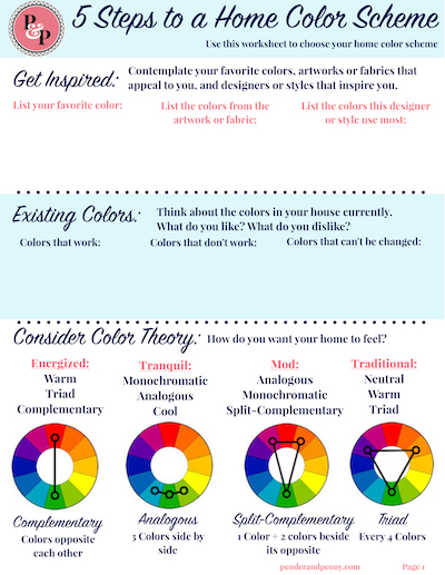 Try the home color scheme worksheet to choose a color palette for your whole home