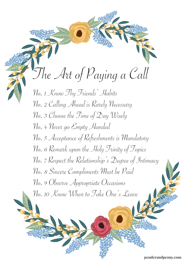 Etiquette Guide - The Art of Paying a Call Print. Master these rules at penderandpeony.com