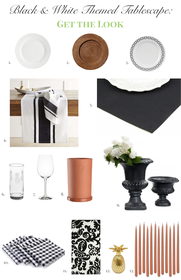 Black and White Themed Tablescape- Get the Look- penderandpeony.com