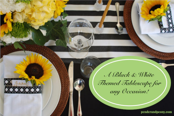 Need an effortless but elegant tablescape? A black and white themed tables cape is your answer! Learn why and get inspiration on penderandpeony.com