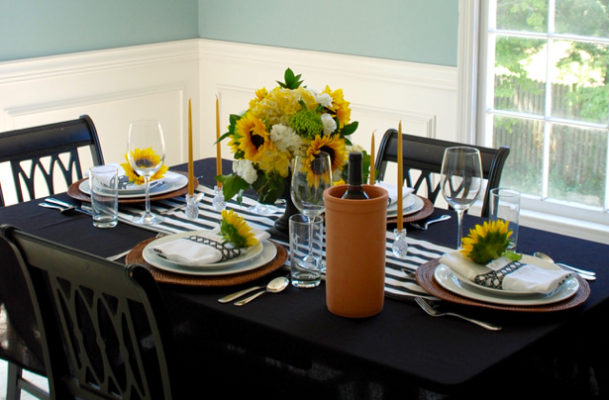 Black and White Themed Tablescape with terra cotta wine cooler