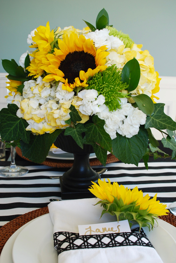 Sunflower Centerpiece for Black and White Themed Tablescape