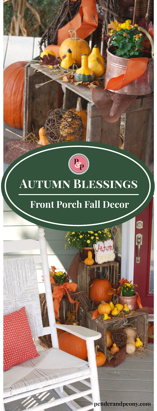 Farmhouse Fall Porch Decor with crates, pumpkins, copper, and mums. Rustic but elegant fall decor. Save pin for later.