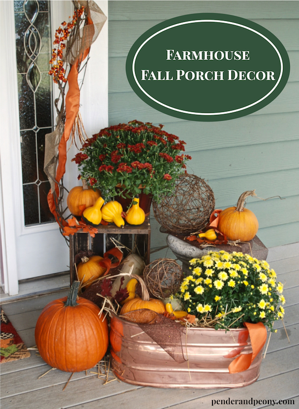 Farmhouse Fall Porch Decor with crates, pumpkins, mums, and copper. Save pin for latter.
