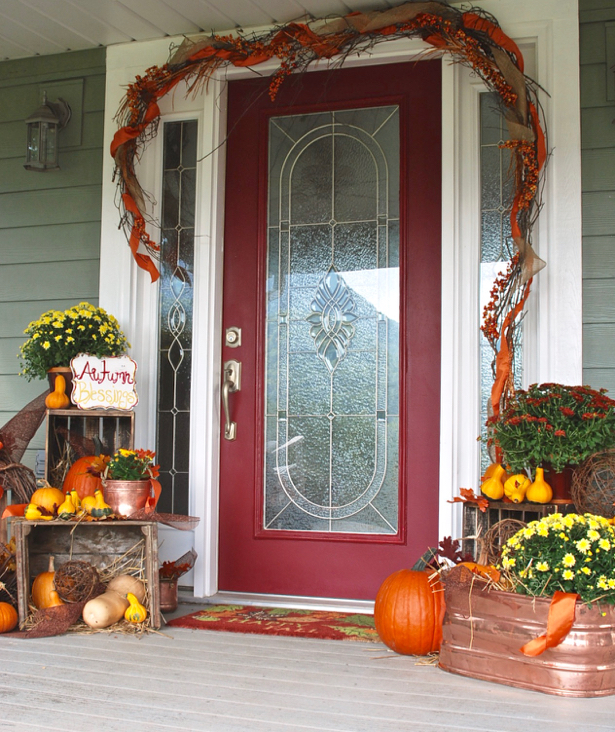 Farmhouse Fall Porch Decorating Ideas. Add Autumn color to your front porch with pumpkins and mums, and rustic touches with antique crates and copper pots. Get inspired on penderandpeony.com