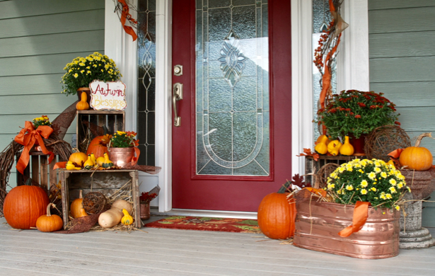 Farmhouse Fall Porch Decor with crates and pumpkins. Save this inspiration for later.