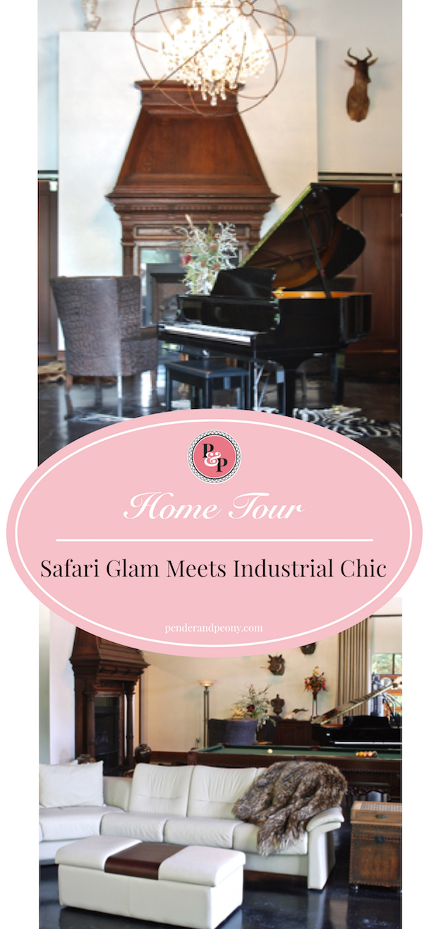 Safari Glam meets Industrial Chic in this unique home. Take a tour and learn how to mix these two decor styles.