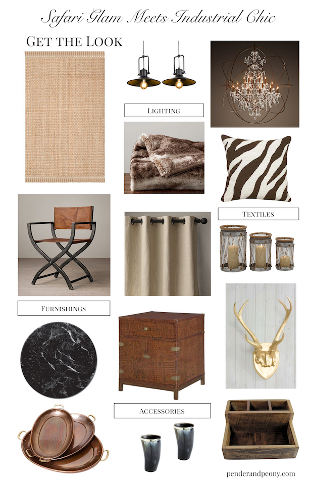 Safari Glam meets Industrial Chic- Get the Look- Home Decor Styles