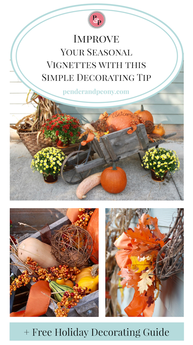 Pumpkins and gourds in this vintage wagon are a perfect fall vignette. Learn my tip to improving your seasonal vignettes + get the free holiday decorating guide!