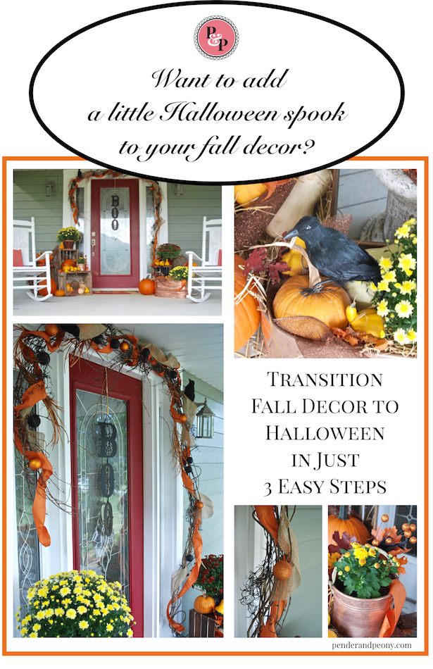 Transition your porch from fall to halloween in just a few easy steps.