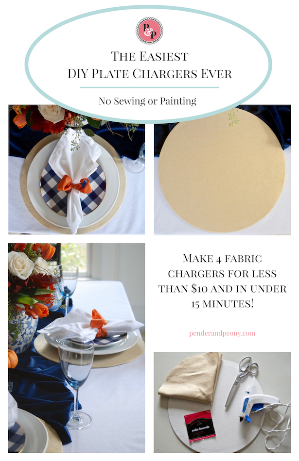 The Easiest DIY Plate Chargers Ever: No Sewing or Painting. Make 4 fabric chargers for less than $10 and in under 15 minutes. Learn how on penderandpeony.com