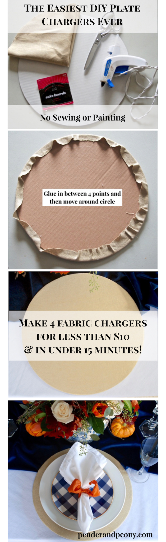 Make 4 fabric chargers for less than $10 and in under 15 minutes! #DIY #platechargers #tablescape #tabledecor