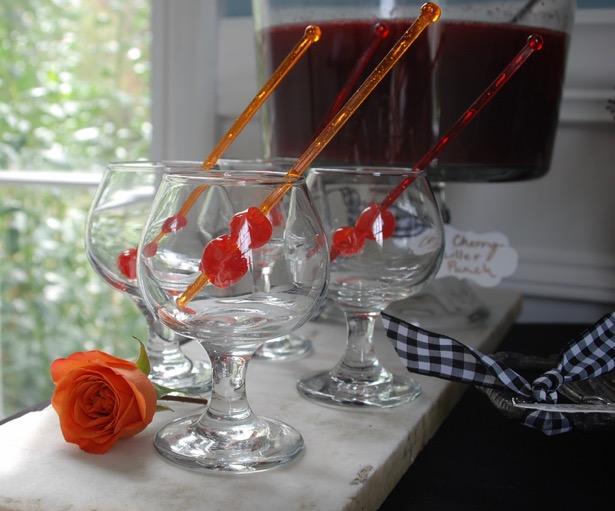 Serve a spooky punch at your Halloween dessert party. Try this cherry chiller punch with cherry juice, limeade, sprite, and vodka. Get the recipe on Pender & Peony