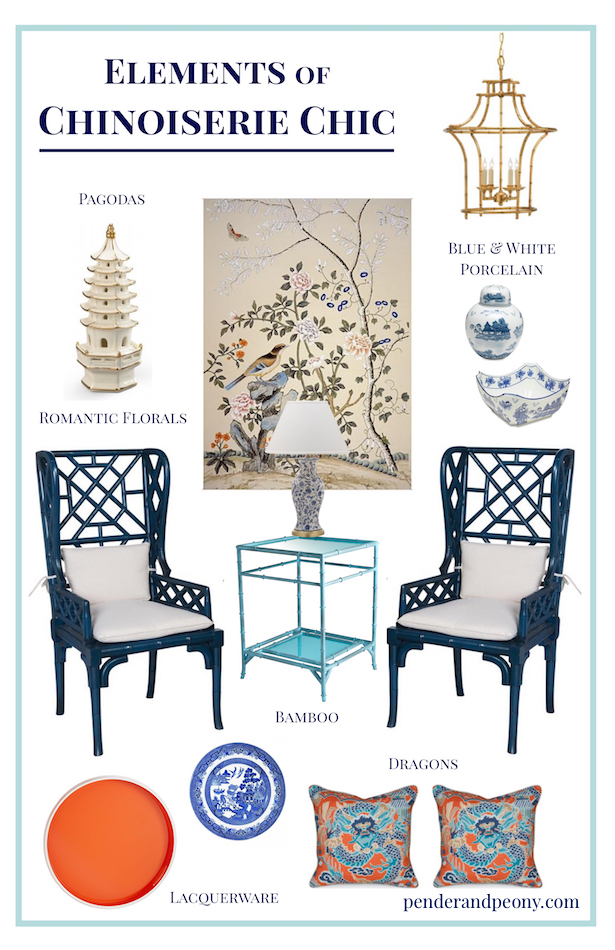 Collage of the Elements of Chinoiserie Chic, including bamboo chairs, pagodas, blue and white porcelain.