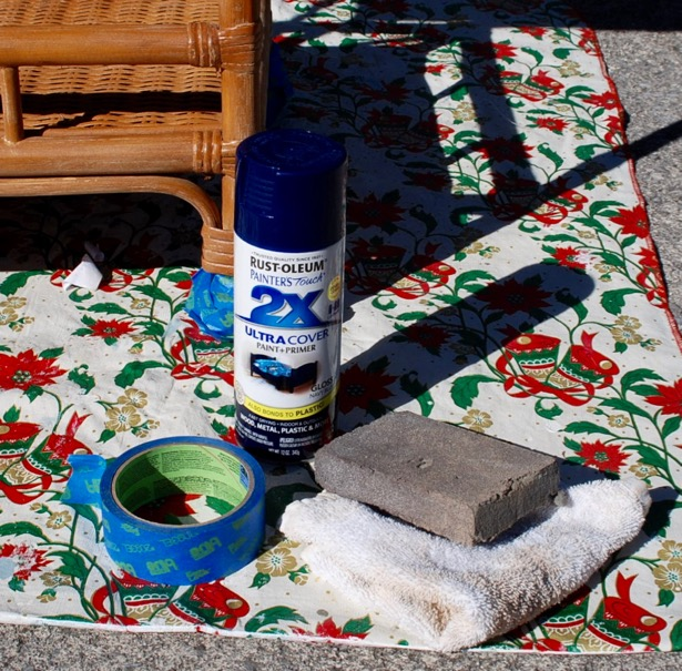 use these materials to transform your rattan bar cart with spray paint