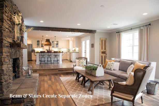 Use architectural dividers to create separate zones when designing open concept homes
