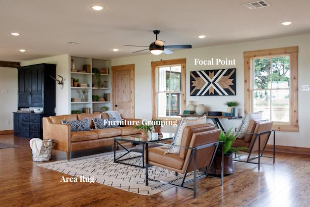 Use separate zones when decorating an open concept floor plan
