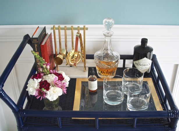 Rattan Bar Cart DIY - paint your rattan bar cart for a chic look