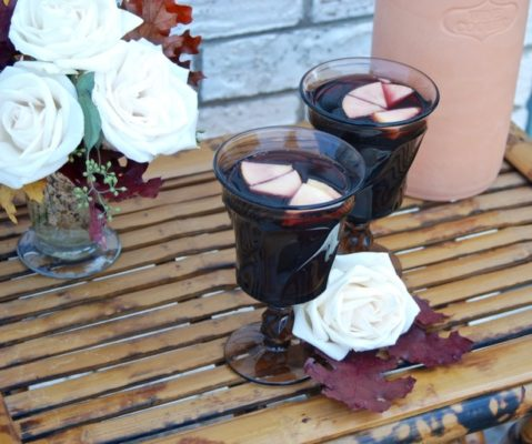 Rhubarb Apple Sangria with Ginger made with red wine and a shrub. Great fall cocktail.