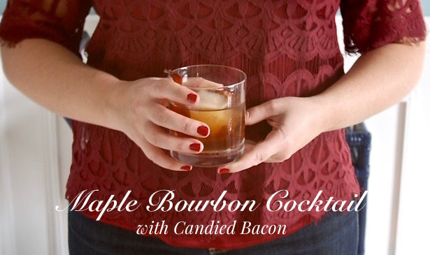 Wow Thanksgiving guests with a maple bourbon cocktail garnished with candied bacon