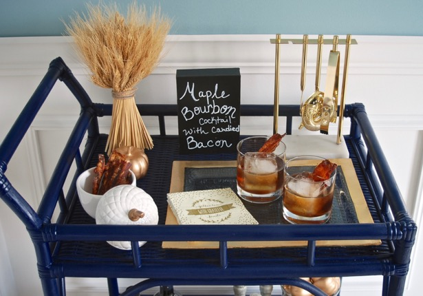 Use a bar cart for Thanksgiving festivities and serve a special cocktail like maple bourbons with candied bacon