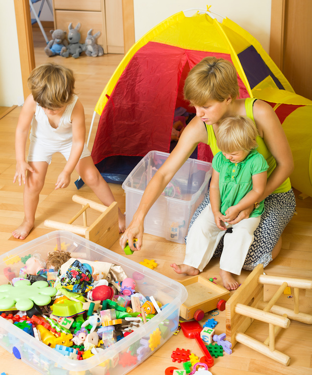 Get your kids involved in organizing their toys. Make it a game. Learn more tips to organize your kids' clutter on penderandpeony.com