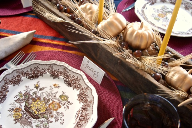 Use brown transferware for a rustic autumn feeling placesetting