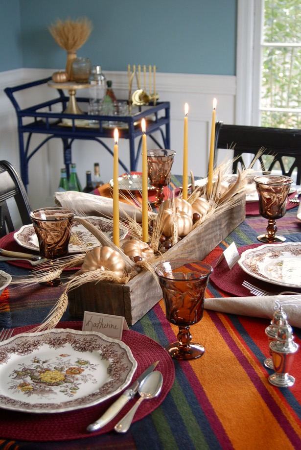One rustic thanksgiving tablescape - two centerpiece ideas