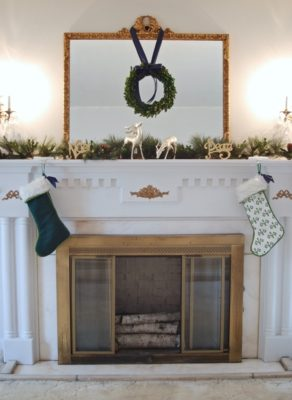 My Southern Christmas home and mantle with pine and boxwood garland and boxwood wreath