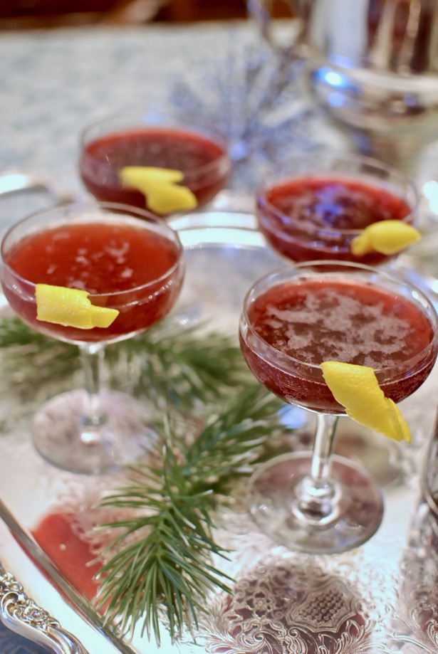 Try a bubbly blackberry cocktail with champagne, st. germain, vodka for a delightful New Year's Eve celebration drink.