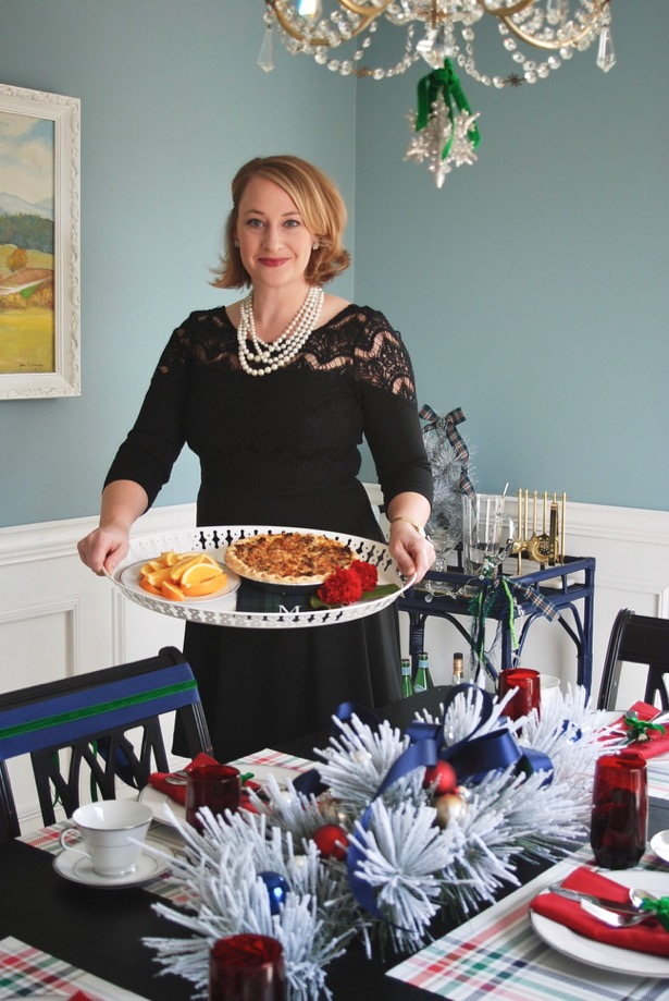 Host a charming holiday party with this sausage quiche recipe and festive tablescape.