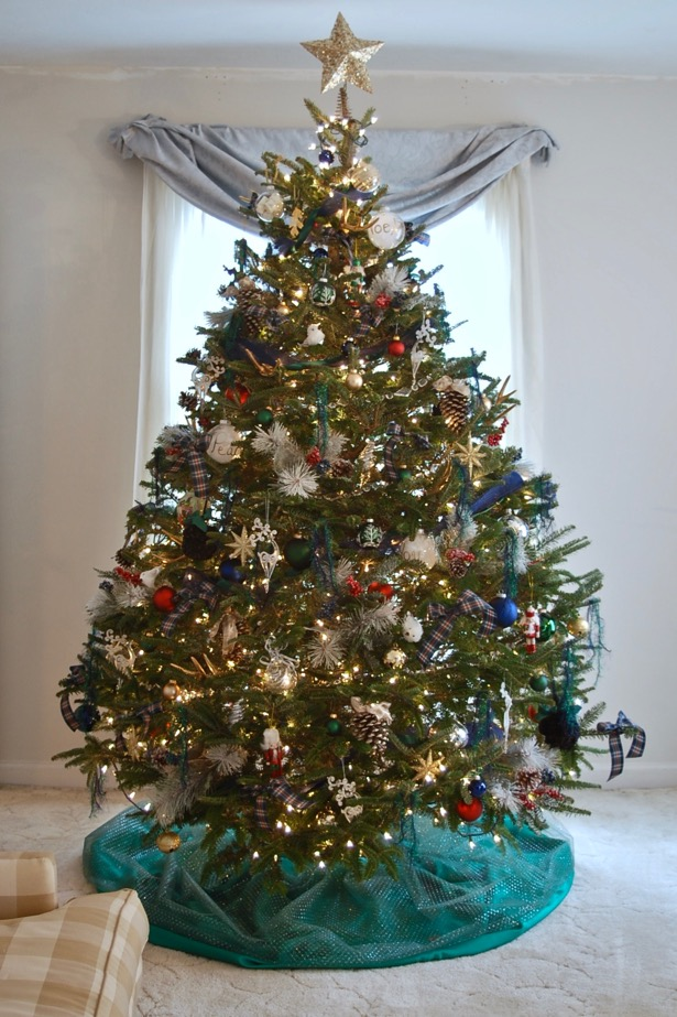My Southern Christmas tree with a plaid theme and blue and green color scheme