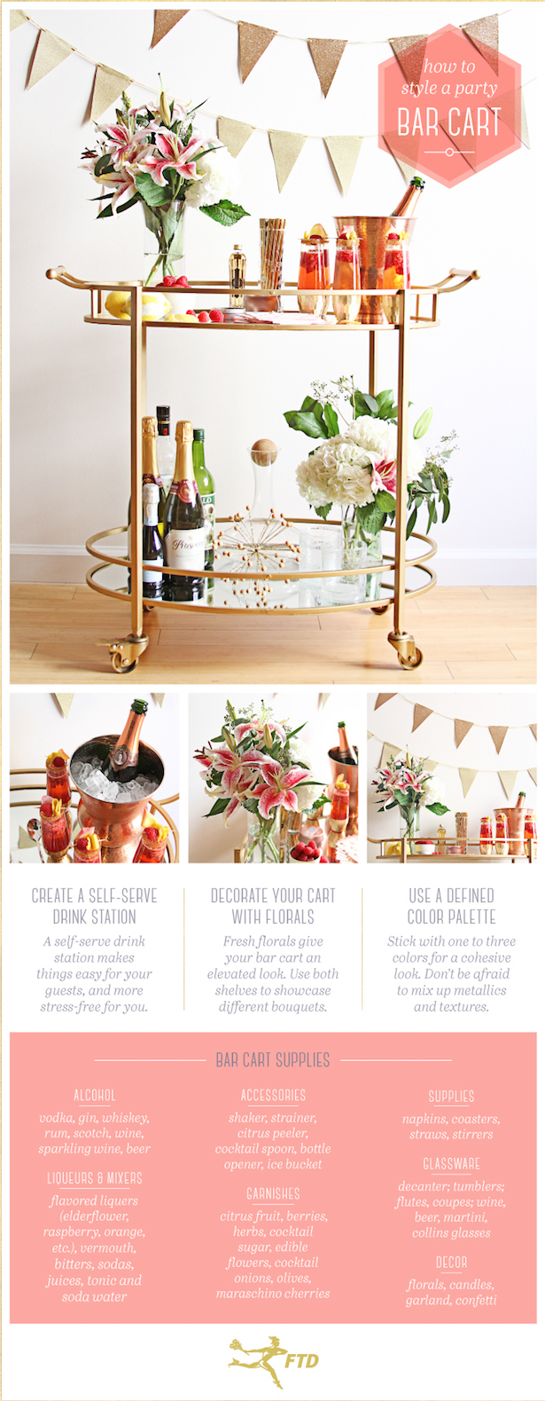 No party is complete without a handy bar cart. Learn how to style your bar cart with this quick guide.