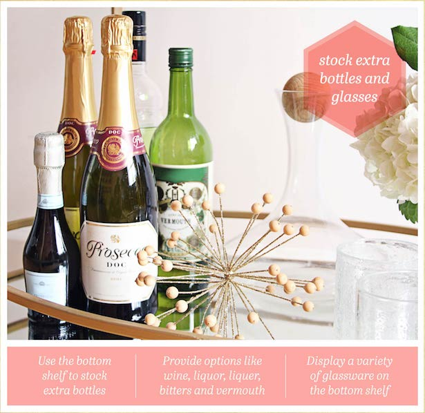 No party is complete without a handy bar cart. Learn how to style your party bar cart with this quick guide.