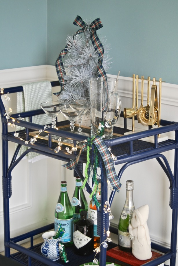 My Southern Christmas bar cart in blue, green, and plaid