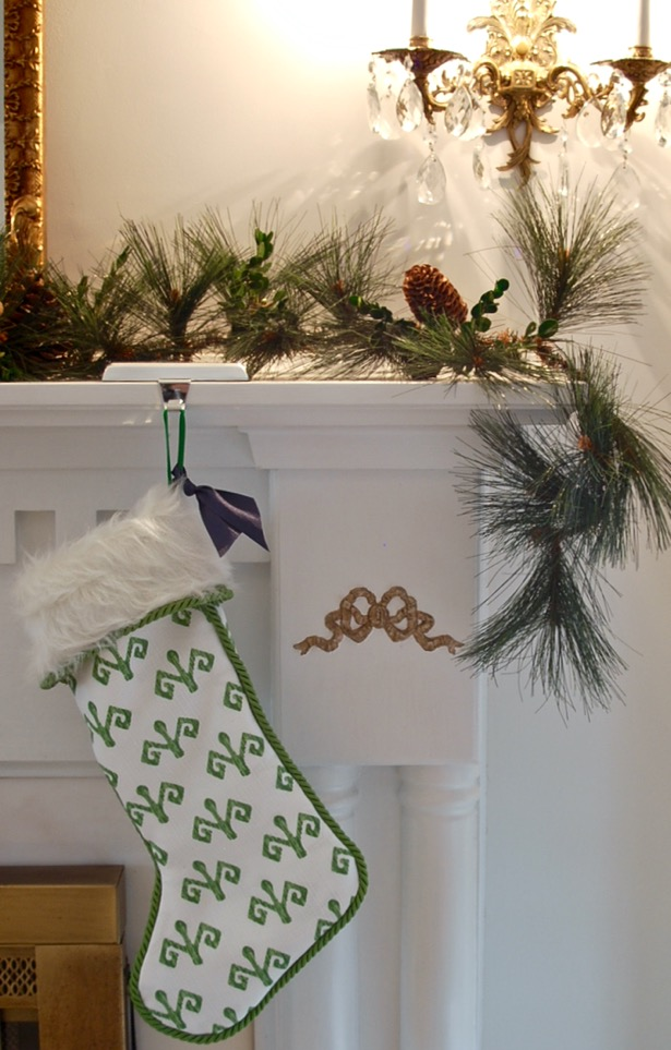 Southern Christmas stocking in white and green